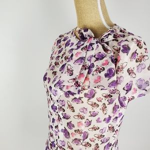 Tatyana vintage inspired patterned blouse w bow